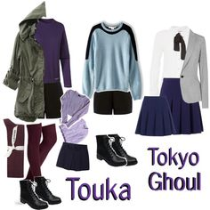 Casual cosplay of Touka Kirishima (from Tokyo Ghoul anime series)-- character inspired outfit