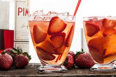 Ruby on Rails     21/2 strawberries (medium, hulled and thinly sliced)     11/2 oz gin     13/4 oz rosé wine (fruity)     3/4 oz strawberry syrup     1/2 oz lemon     1/2 oz pimms