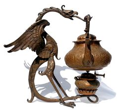 ANTIQUE Teapot & Warmer TEA STAND  DRAGON