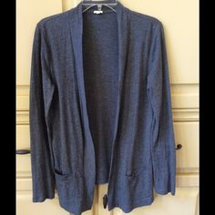 J. CREW Summerweight CardiganReduced J CREW open front summer weight cardigan sweater is perfect for layering.  This trendy cardigan has decorative front pockets, is the perfect color gray and can be dressed up or down. Would be super chic layered with a dress, jeans or shorts. Excellent pre worn condition! J. Crew Sweaters Cardigans