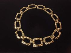 Runway Couture Heavy Gold Plated Hammered Link Designer Necklace by SweetBettysBling on Etsy
