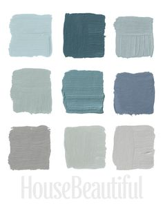 House Beautiful Designers Designers Pick Their Favorite Paints  Featured above are the colors, Top Row: Pratt & Lambert's Argent 1322, Farrow & Ball's Claydon Blue 87, Farrow & Ball's Green Blue 84, Middle Row, Farrow & Ball's Light Blue 22, Benjamin Moore's Sea Star 2123-30, Benjamin Moore's Wolf Gray 2127-40 Bottom Row,  Benjamin Moore's Graytint 1611, Sherwin-Williams's Magnetic Gray SW-7058,  Benjamin Moore's Stone Harbor 2111-50