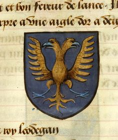 Medieval Manuscript Images, Pierpont Morgan Library, Noms, armes et blasons des chevaliers de la Table Ronde. MS M.16 fol. 11r Lot, King of Orkney (purpure, a double headed eagle displayed or, membered and beaked azure)