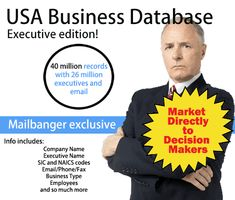 USA Business database Executive version for marketing! Target millions of high level executives! Email Marketing, Marketing And Advertising, Name Maker, High Level, Target, Coding, Usa, Business, Store