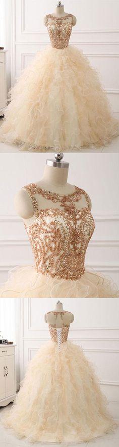 Elegant Round Neck Tulle Long Prom Dress #prom #promdress #eveningdress #longpromdress