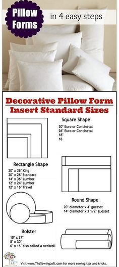 Sewing Pillows DIY Easy Pillow Forms and Printable Pillow Sizes from The Sewing. - DIY Easy Pillow Forms and Printable Pillow Sizes from The Sewing Loft here. Sewing Pillows, Diy Pillows, Decorative Pillows, Throw Pillows, Custom Pillows, Sewing Hacks, Sewing Tutorials, Sewing Crafts, Sewing Patterns