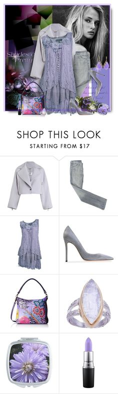 """Lilac and Grey"" by perla57 ❤ liked on Polyvore featuring Zimmermann, 7 For All Mankind, Gianvito Rossi, Anuschka and MAC Cosmetics"