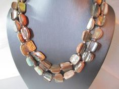 EXTRA LONG VERY HEAVY SHELL NECKLACE CHUNKS OF ABALONE GORGEOUS VINTAGE
