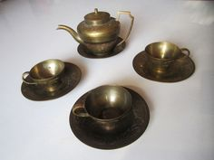 Vintage antike orientalische schmiede Tee Set Tea Wölfe Mohn Opium Hand Arbeit Tee Set, Tea Service, Wolves, Poppy, Oriental, Candle Holders, Art Deco, Vintage, Ebay