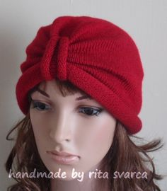 Red turban, knitted turban hat for women, handmade women's hat, winter turban, retro style turban, knitted from lambswool & acrylic blend by accessoriesbyrita on Etsy