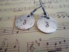Hand Stamped Music Note Dangle Earrings by girlinair on Etsy, $6.00