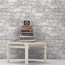 Exclusive 'Stucco' Brick & Plaster Effect Wallpaper Grey, Beige & White