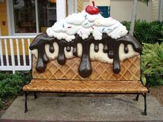 bench in front of the Paradise Island ice cream parlor