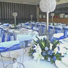Blue and crystal centerpieces and sashes for boys first holy communion Jadyn & Tyler
