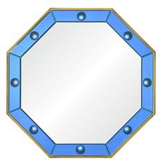 Designed by Bunny Williams. Octagonal polished brass mirror surrounded by hand cut blue convex mirrors. Non-beveled center mirror. Convex Mirror, Brass Mirror, Wood Mirror, Grey Wall Mirrors, Oversized Wall Mirrors, Bunny Williams Home, Unique Mirrors, Wood Glass, Image House