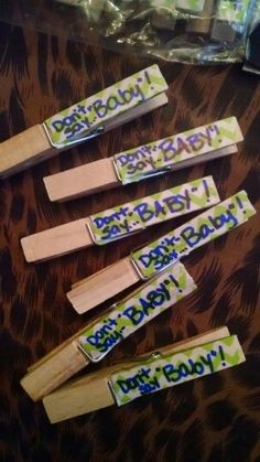 """Don't say Baby"" shower game. Decorative tape to match theme and color, sharpie marker. Easy, quick!"