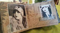 """album """" Zoom sur les année 20"""". Tissus, Papier Tim Holtz, récupération de brocantes, dentelles, découpes en bois..."""