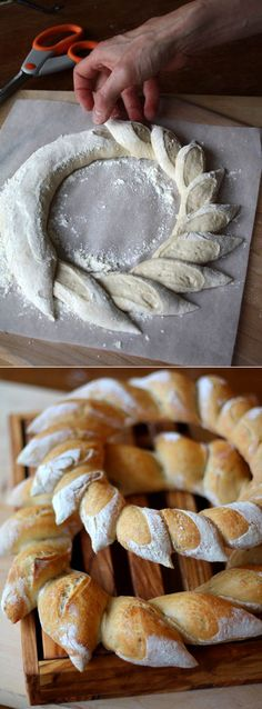 do a light bread for the ring and do a darker bread for the middle to make sunflower bread Bread Recipes, Cooking Recipes, Pastry Design, Bread Shaping, Bread Art, Bread And Pastries, Artisan Bread, Creative Food, Food Design