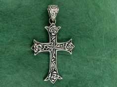 Sterling Silver Christian Cross With Flowers Pendant by deemoda