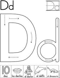 letra d fichas del abecedario y el alfabeto para descargar gratis para imprimir de niños