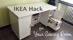 Sew Much Easier - Sewing Room Furniture - IKEA Hack Ikea Sewing Rooms, Sewing Room Furniture, Sewing Room Storage, Sewing Room Decor, Sewing Room Organization, Ikea Storage, Small Sewing Space, Sewing Spaces, Diy Sewing Table