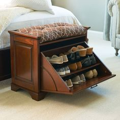 Looking for hidden shoe storage, pretty indoor furniture piece, and a comfy seat all rolled into one? Our wooden shoe bench is here.