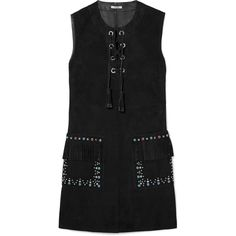 Miu Miu Lace-up embellished suede mini dress ($3,940) ❤ liked on Polyvore featuring dresses, black, lace-up dresses, short dresses, laced dress, mini dress and short fringe dress