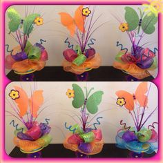 Butterfly Centerpieces Could do yellow/purple Butterfly Centerpieces, Butterfly Decorations, Party Centerpieces, Butterfly Birthday Party, Butterfly Baby Shower, 1st Birthday Parties, Diy And Crafts, Crafts For Kids, Girl Birthday Decorations