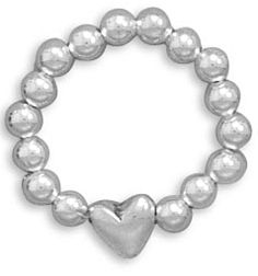 .925 Sterling Silver Heart Bead Stretch Toe Ring, One Size Fits All