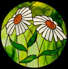 Daisies Stained Glass Panel Glass Art - Daisies by David Kennedy Stained Glass Flowers, Faux Stained Glass, Stained Glass Designs, Stained Glass Panels, Stained Glass Projects, Stained Glass Patterns, Leaded Glass, Mosaic Glass, Mosaic Flowers