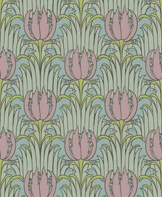 BIRD AND TULIP This pattern is one of Voysey's seductively soft and appealing designs.  Highly stylized tulips, tulip leaves and birds creat...