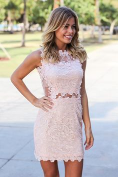 NEW COLOR! Our Ice Pink Lace Short Dress is so beautiful! With its tulle side and back and gorgeous lace design, it is the perfect piece to wear to any special occasion. We're obsessed with the lace d