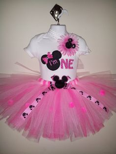 First Birthday Minnie Mouse Pink Tutu by spoiledkidzboutique, $35.00