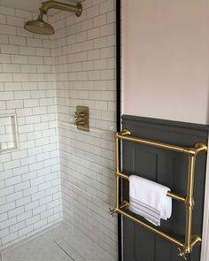 Beautiful bathroom renovation with solid brass bathroom fittings. Small Shower Room, Small Showers, Small Bathroom, Brass Bathroom, Bathroom Inspo, Bathroom Inspiration, Towel Radiator, Towel Warmer, Heated Towel Rail