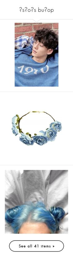 """""""˙sʇoɥs buıop"""" by jaethighs ❤ liked on Polyvore featuring bottoms, pants, accessories, hair accessories, hair, headbands, flower crown, flower crowns, adjustable headbands and headband crown"""