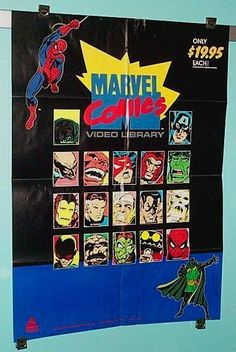 Rare vintage original 1985 Marvel Comics tv cartoon animated series vhs video store dealer's window display promotional promo poster: Iron Man, Spider-man, Thor, Captain America, Avengers, Hulk, Green Goblin, Uncanny X-Men super-villain Magneto, Red Skull, Prince Namor the Submariner, Spider-Woman, Fantastic Four, Amazing Spiderman movie supervillain the Vulture
