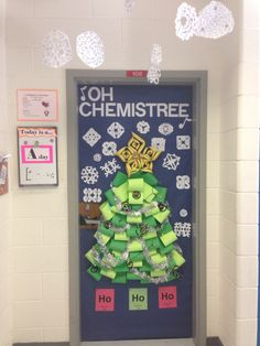 Oh chemistree door decoration chemistry bulletin boards, chemistry classroom, teaching chemistry, chemistry art Science Door Decorations, Science Room Decor, School Door Decorations, Christmas Door Decorations, Christmas Trees, Funny Christmas, Tree Decorations, Christmas Holiday, Christmas Ornament