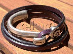 women dark purple leather bracelet and sterling silver by kekugi