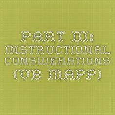 Part III: Instructional Considerations (VB-MAPP)