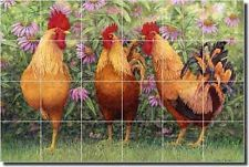 Matcham Country Roosters Ceramic Tile Mural Backsplash 25.5