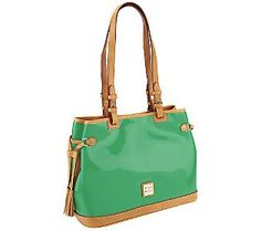 Accessorize with the #ColoroftheYear and Dooney & Bourke! Try this #Emerald Patent Double Strap Tassel Tote on for size.