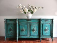 Vintage Hand Painted French Country Vintage Turquoise Buffet S…