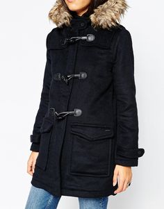 Pepe Jeans Holmes Duffle Coat With Faux Fur Hood