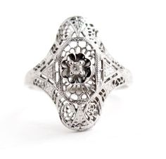 Antique 10K White Gold Diamond Ring - Art Deco 1920s Engagement Filigree Fine Jewelry / Statement Shield by Maejean Vintage, $250.00