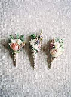 Love the variety of flowers on this boutonniere! Deco Floral, Floral Design, Floral Wedding, Wedding Bouquets, Vintage Wedding Flowers, White Bouquets, Bridesmaid Bouquets, Flower Bouquets, Vintage Weddings