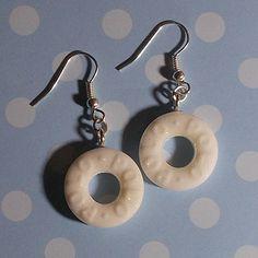Glitter White Polo Earrings