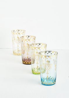 Thanks for Glistening Glass Set. Direct your attention to the captivating glow of this luxe set! #multi #modcloth