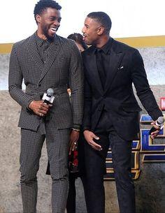 Chadwick Boseman & Michael B. Men In Black, Handsome Black Men, My Black Is Beautiful, Beautiful Men, King T, Michael Bakari Jordan, Black Panther Chadwick Boseman, Bae, Black Actors