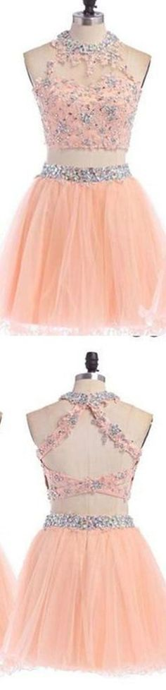 2016 Sexy Two pieces Peach lace homecoming prom dresses, CM0004 – LoverBridal