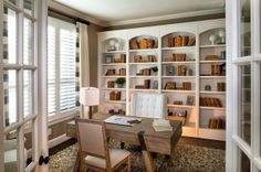 Soothing cream and white create a natural, almost beachy feeling in this airy home office. Highland Homes Home Library Design, Home Office Design, Home Office Decor, House Design, Office Furniture, Home Decor, Office Built Ins, Highland Homes, Bathroom Design Small